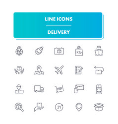 line icons set delivery vector image