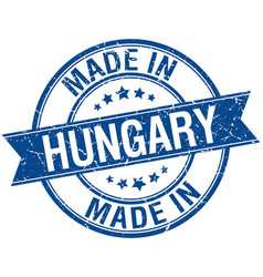 Made in hungary blue round vintage stamp vector