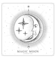 Magic witchcraft card with astrology moon sign vector