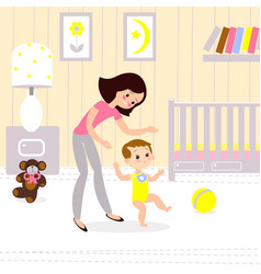Mom and baby in the childrens room the first seps vector