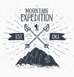 mountain expedition vintage label retro badge vector image