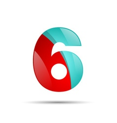 Number six 6 colorful 3d volume icon design for vector