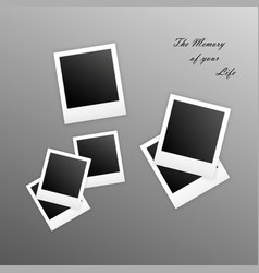 old empty realistic photo frames with transparent vector image