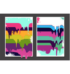 posters set with oil paint splashes graffiti vector image