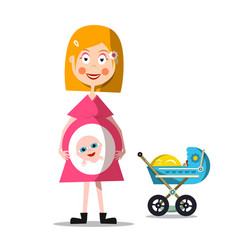 Pregnat woman with baby carriage young mother vector