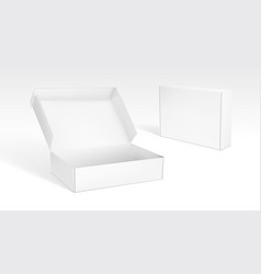 realistic open and closed blank packaging boxes vector image