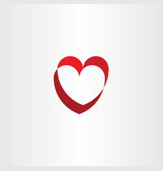 red symbol logo heart element vector image