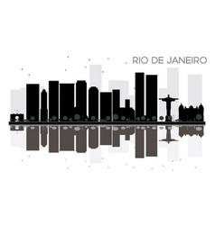 rio de janeiro city skyline black and white vector image