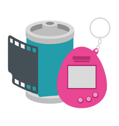 Roll camera with video game mascot nineties vector