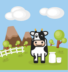 rural landscape with farm dairy and milk cans vector image
