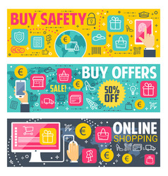 safety buy banners for online shopping vector image
