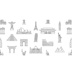 seamless pattern with world monuments vector image