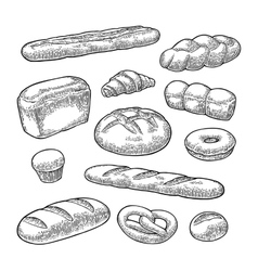 Set bread black vintage engraving vector