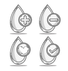 Set drop blood donation symbol vector