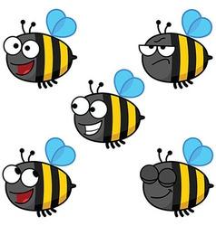 Set of Cartoon Bees-Color vector image