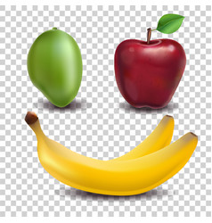 Set of fruits apple mango banana realistic vector