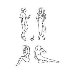 set stylized silhouettes woman body vector image