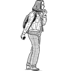 Sketch student girl goes for a trip vector