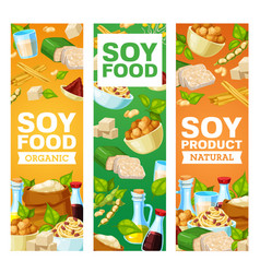 soybean and soy vegan products banners vector image
