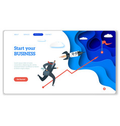 startup landing web page or website for easy vector image