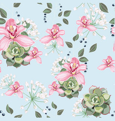 succulent and pink orchid flowers seamless vector image