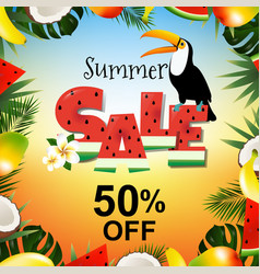 Summer sale poster with toucan vector