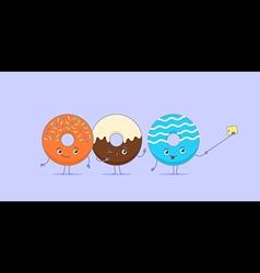 Three kawaii donuts taking selfie vector