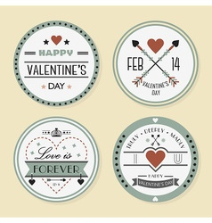 Valentines day and romantic retro badges set vector