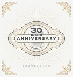 vintage anniversary celebration message emblem lab vector image