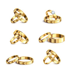 wedding rings realistic set vector image