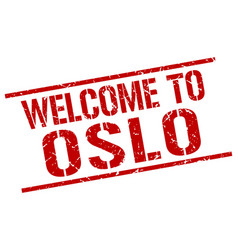 welcome to oslo stamp vector image