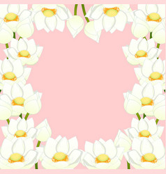 White indian lotus border vector