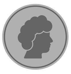 Woman profile silver coin vector