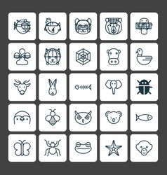 Zoology icons set collection of diver claw print vector