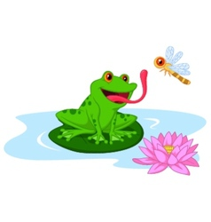 Cute cartoon frog catching dragonfly vector image vector image