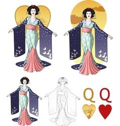 Queen of hearts asian actress Mafia card set vector image vector image