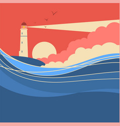 sea waves with lighthouse nature poster of vector image vector image