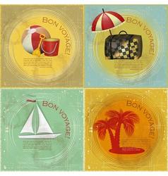 Set of vintage travel postcard vector