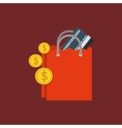 shopping bag money vector image vector image