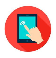 tablet touch circle icon vector image