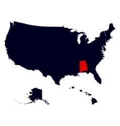 Alabama State in the United States map vector image