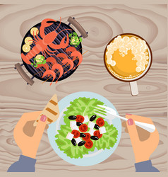 Grilled sea food with beer vector