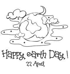 happy earth day sketch hand draw vector image vector image
