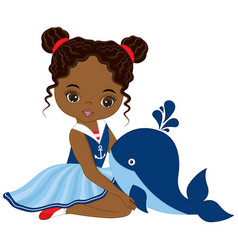 little african american girl with whale vector image vector image