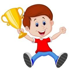 Boy cartoon holding gold trophy vector image