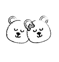 figure cute animal couple bear head together vector image