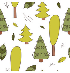 forest seamless pattering in cartoon style vector image
