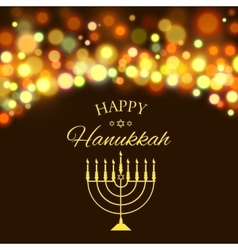 Hanukkah background with menorah and lights vector image