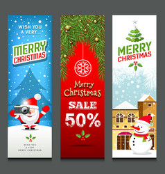 merry christmas banners design vertical vector image vector image