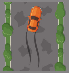 car lost control on wet road vector image